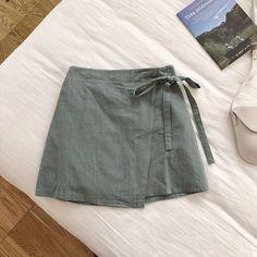 Summer Women Cotton Linen Skirt Wrap Skirt High Waist Mini Skirts Spodnice Damskie Color Black Size One Size A Line Mini Skirt, A Line Skirts, Mini Skirts, Sewing Clothes, Diy Clothes, Skirt Outfits, Cute Outfits, Diy Mode, Looks Chic