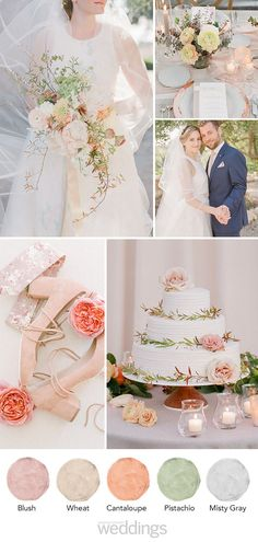 Let this color palette inspire your big day and take some stress out of color planning! The post Let this color palette inspire your big day and take some stress out of color pl& appeared first on Wedding. Sage Wedding, Rustic Wedding Flowers, Chic Wedding, Floral Wedding, Wedding Country, Popular Wedding Colors, Spring Wedding Colors, Spring Wedding Inspiration, Orange Wedding Themes