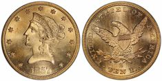 1857 S $10 Gold PCGS MS64+ from the SS Central America sunken treasure will be displayed at the ANA World's Fair of Money in Philadelphia, Pennsylvania, August 14-18, 2018....the finest known for all San Francisco minted No Motto Gold Liberties. There are 23 listed in MS64 and only 4 more in the lower Mint State grades. The NumisMedia Market value for the MS64 is $34,500....