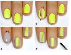 Grey and neon nails Neon Yellow Nails, Yellow Nail Art, Striped Nails, Neon Nails, Love Nails, How To Do Nails, Nail Art Diy, Easy Nail Art, Diy Nails