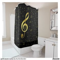 gold music notes shower curtain
