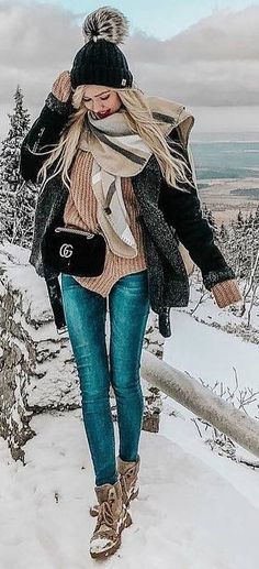 #winter #outfits brown sweater, jeans, boots, black coat