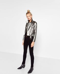 Image 1 of METALLIC BIKER JACKET from Zara