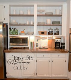 Open Cabinets and wood countertop...look more like a built in! - All Things Heart and Home