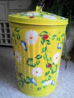Hand Painted 20 Gallon Trash Can - krystasinthepointe.com - ETSY