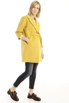 Cappotto in velour di lana, giallo - Diffusione Tessile