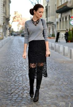 Beautiful Summer Outfit Ideas with Feminine Lace Skirts - Pretty Designs : closet ideas fashion Stylish Black Lace Skirt Outfit for Office Ladies Lace Skirt Outfits, Pencil Skirt Outfits, Lace Outfit, Pull Oversize Gris, Trendy Fashion, Winter Fashion, Fashion Trends, Fashion Ideas, Cozy Outfits