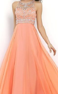 Elegant Natural Floor A-Line Sleeveless Chiffon Prom Dresses In Stock coodress16011