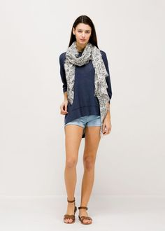 Solid Summer Sweater Poncho (SM317) DENIM/ Contents: 100% Viscose/ One Size Fits All