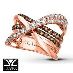 Le Vian Ring 1 1/5 ct tw Diamonds 14K Strawberry Gold