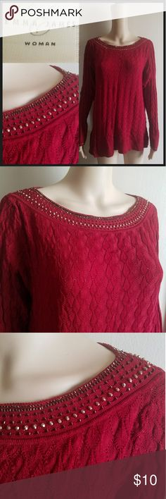 Emma James Gorgeous Red Sequin Sweater Size 1XL Great Condition Red Lightweight Sweater with studded/sequin Neckline & Wrist. 25% OFF BUNDLES OF 3 OR MORE ITEMS! REASONABLE OFFERS ACCEPTED!! BUY WITH CONFIDENCE~SUGGESTED USER, TOP 10% SELLER, FAST SHIPPING, 5 STAR RATING, FREE GIFT w/ MOST ORDERS! Emma James Sweaters Crew & Scoop Necks