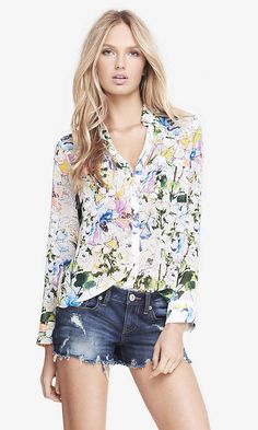 New With Tags!!! Express Floral Ruffle Sleeve Top