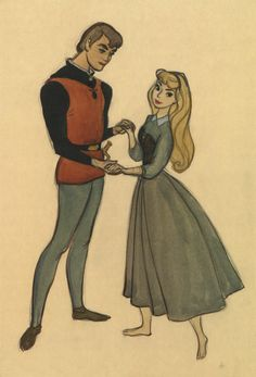 Prince Philip and Briar Rose concept art for Sleeping Beauty by Marc Davis