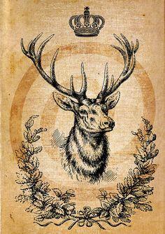 Deer king, crown , home decor, instant Digital Image Download Sheet, Transfer To Pillows ,Burlap Bag, or Print on paper 022