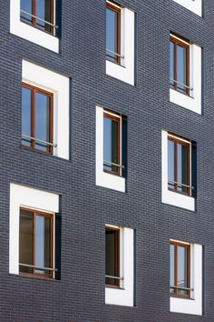 Social housing Exterior Facade Brick White Window Detail