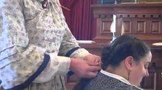 Victorian Hair demonstration braided bun with hair roll wrap, via YouTube.