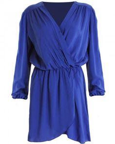 LOVE Cobalt Long Sleeve Wrap Dress