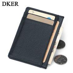 Famous Brand Genuine Leather Card Holder Business Unisex Slim Card Case Credit Card Cash Holder Men Wallets Women Purse MWS105