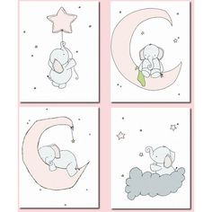 Elephants Moon and Stars Art ($72) ❤ liked on Polyvore