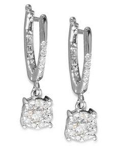 Classique by EFFY Diamond Cluster Drop Earrings (1/3 ct. t.w.) in 14k White Gold