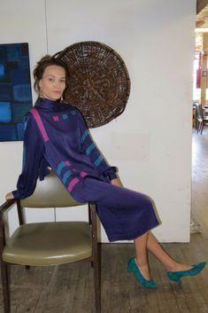 ba1a1432b467b Silk shift dress in pantone purple by Francesca of Damon for Starington.   silkdress