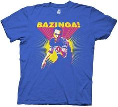 Big Bang Theory Bazinga Sheldon Cooper Mens Royal Blue Tee (X-Large)