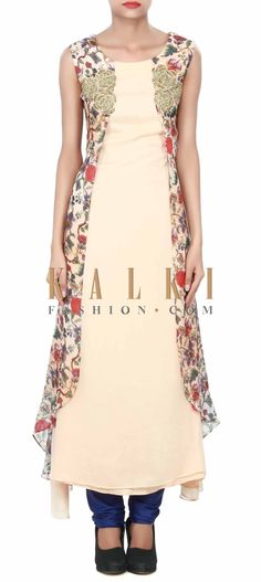 Buy Online from the link below. We ship worldwide (Free Shipping over US$100) Price-$129 Click Anywhere to Tag http://www.kalkifashion.com/light-peach-kurti-adorn-in-floral-print-and-kardana-embroidery-only-on-kalki.html