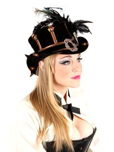women's steampunk hats | SteamTrunk Suede Leather Steampunk Ladies Top Hat by TheBlondeSwan