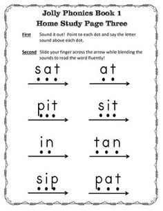 Jolly Phonics Home Study Packet Designed to give parents the tools to offer support with JP at home. After completing each Jolly Phonics book, 3 pages are sent home so parents can work with their child in developing their phonics skills. Includes One introduction letter A group of SEVEN- Parent letter introducing sounds and description of the motion. A visual of the alphabet letter, the sound and motion picture. Eight words using letter sounds learned. COMES IN PRIMER PRINT AND D'NEALIAN!