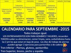 Calendario de entrenamiento para Septiembre del 2015