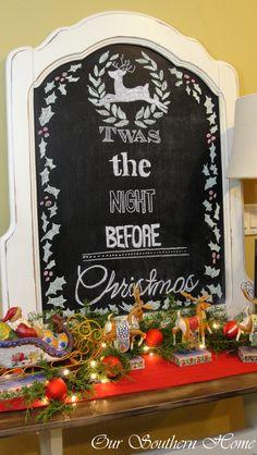 Christmas Chalk Art with free printable via Our Southern Home #christmas #christmaschalkart #christmasprintable