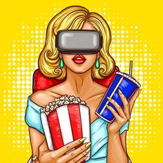 Vector pop art illustration of a beautiful blond woman sitting in the auditorium and watching movie with virtual reality glasses.