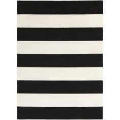 $394  polypropylene 7.75' x 10.25' Bold Stripes Black and Snow White Decorative Area Throw Rug at Walmart.com
