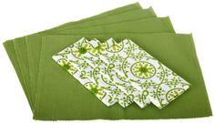Amazon.com - DII Green Garden Linen Set, 4 Shamrock Placemats and 4 Garden Flourish Print Napkins - Kitchen Linen Sets #AmazonCart #DII #DesignImports