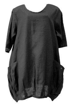 AKH Fashion Lagenlook Leinentunika oder Kleid mit großen Taschen in schwarz  XL Mode bei www.modeolymp.lafeo.de