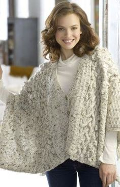 Free Knitting Pattern - Women's Shrugs, Wraps & Capes: Aran Wrap