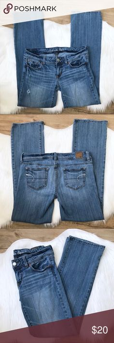 """[AEO] Slim Boot Distressed Low Rise Jeans size 8 Previously loved American Eagle Outfitters AEO Women's Slim Boot Cut Low Rise Jeans size 8 Regular. Distressed detailing on front.  Waist: 33.5"""" Hip:36"""" Inseam: 32"""" Rise: 7.5"""" Leg opening: 17.5"""" American Eagle Outfitters Jeans Boot Cut"""