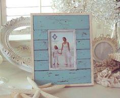 AQUA BLUE BEACH WOOD SHABBY COTTAGE CHIC FRAME 4 x 6