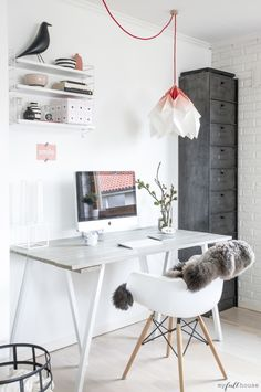 ♥ ♥ ♥ love the furry little throw for some texture and the tall file cabinet practical yet attractive http://paperempire.com.au/collections/all/lighting
