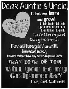 Letter for Godparents, baptism, request, Will you be my Godparents? Love always, Olivia Rae Dedication Ideas, Baby Dedication, Godparent Gifts, Godparent Ideas, Baptism Ideas For Godparents, Godmother Gifts, Fairy Godmother, Asking Godparents, Proposal Quotes