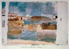 Paul Klee, Vor den Toren von Kairuan (Before the Gates of Kairouan), 1914.    'Was it really only the Tunisian landscape and architecture, the southern light and the colours that at least helped Klee find his way to painting? …    'One of the last pictures Klee painted on this trip, Vor den Toren von Kairuan, was painted on 16 April 1914, the very day he came to the conclusion in his diary that he was now, at last, a painter.'    —Susanna Partsch, Klee, 2007