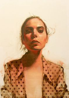 """Spot On"" - Michael Carson (b. 1972), oil on panel, 2016 {figurative art female décolletage woman portrait painting #loveart}"