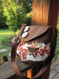 Chocolate Small Birds Trees and Leaves Purse /tote di LBArtworks, $65.00