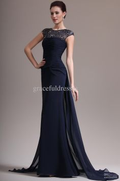 Real Images!A-line scoop lace and chiffon ruffles sheath navy blue sweep train formal dresses long evening dress