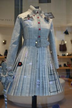 """Newspaper """"dress"""" at the Arche shoe shop on Astor Place"""
