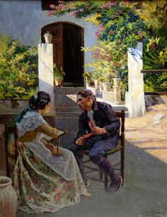 Rice Paddy, Spanish Art, Visual Texture, Great Paintings, Couple Art, Impressionist, Oil On Canvas, Landscape, Drawings