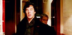 """Fucking stop grabbing my arse in public, John!""  ""You think you can stop me? Good luck with that.""    #The best part #is that is EXACTLY #what it looks like  i cannot stop watching johns face, he's like 'do i look like i give a shit, sherlock?' - This is great -gif"