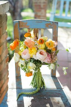 colorful poppy and garden rose bouquet by The Daily Flower