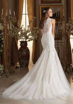 Wedding Dresses and Bridal Gowns by Morilee designed by Madeline Gardner. Amazing Wedding Gown with Frosted Alencon Lace Appliques on Soft Tulle