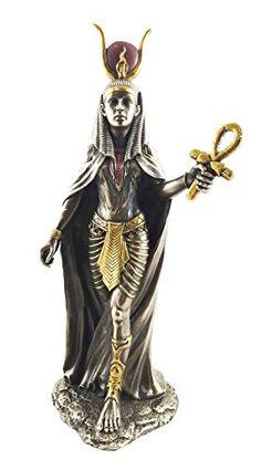 "Sculpture: Egyptian Goddess Hathor Ankh Sculpture 11""""H Statue Motherhood Joy Feminine Love"